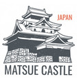 travel poster with japanese sight castle vector image