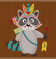 tribal raccoon on wooden background vector image vector image