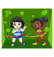 Two girls doing hulahoops vector image vector image