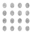 various unique fingerprints black thin line icon vector image