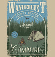 vintage camping colorful poster vector image