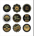 vintage labels black and brown set 2 vector image