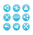 white sharing icons set vector image vector image