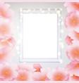 window frame glow garland pink sakura flowers vector image
