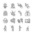 mafia and gangster line icon set vector image
