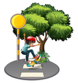 A young gentleman playing at the pedestrian lane vector image