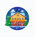 alpine snowboard resort hotel flat style vector image