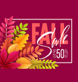 autumn sale background with fall leaves vector image