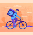 bicycle carriers hired deliver items own bike vector image