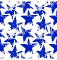 Blue and white worn grunge stars seamless pattern vector image vector image