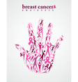 Breast cancer awareness pink ribbon women hand vector image vector image
