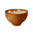 brown bowl fresh mushroom hot soup with green vector image vector image