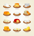 cheese food like parmesan and mozzarella vector image vector image