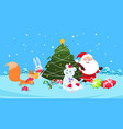 christmas background funny snow animals vector image