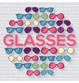 Colorful glasses on brick wall circle infographics vector image