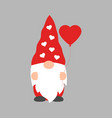 cute valentine gnome with heart-shaped balloon vector image vector image