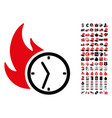 deadline burn clock icon with 90 bonus pictograms vector image