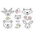 doodle animals head nursery scandinavian style vector image vector image
