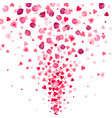 explosion confetti from red hearts and rose vector image vector image