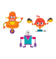flat cartoon funny repairing robots set vector image vector image