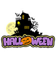 halloween sign with haunted house vector image vector image