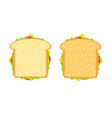 ham and vegetable sandwich vector image vector image