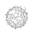 hand drawn sketch sun in black isolated on vector image