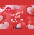 happy valentine day sale web banner with red and vector image vector image