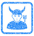 horned warrior framed stamp vector image