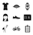 kind of yoga icons set simple style vector image