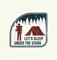 let s sleep under stars slogan summer camp vector image