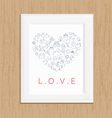 love icon photo frame on wood vector image vector image