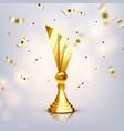 metallic trophy cup game medal vector image vector image