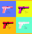 multi-colored pistols for different categories of vector image
