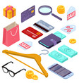 online shopping isometric design elements vector image vector image