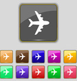 Plane icon sign Set with eleven colored buttons vector image