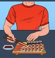 pop art man eating sushi at the asian restaurant vector image vector image