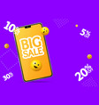 realistic detailed 3d mobile phone big sale banner vector image vector image
