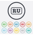 Russian language sign icon RU translation vector image vector image