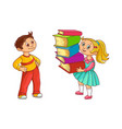 schoolchildren with books cartoon character vector image vector image