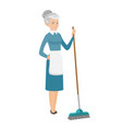 senior housemaid sweeping floor with a broom vector image