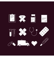 Set of 12 cartoon-style medical icons white on vector image vector image