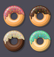 set of four pink glazed donuts with icing and vector image vector image