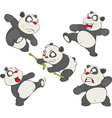 set of Funny Panda Bear Cartoon vector image