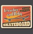skateboarding sport club skateboard store vector image