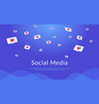 social media speech bubbles with hearts flying vector image