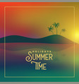 summer time poster with beach sunset scene vector image vector image