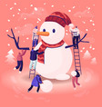 tiny male and female characters playing on winter vector image