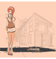 Urban city and sexy girl in short skirt vector image vector image