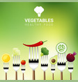 vegetables on forks vector image vector image